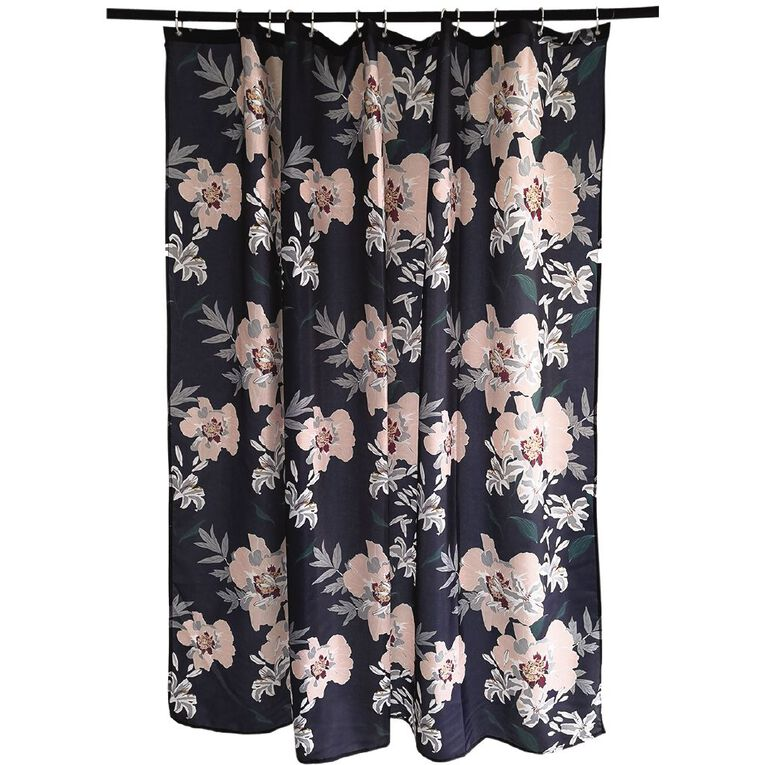 Living & Co Shower Curtain Print Georgina Black 180cm x 180cm, Black, hi-res