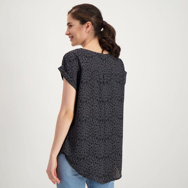 H&H Women's Roll Cuff Shell Top, Grey Dark, hi-res