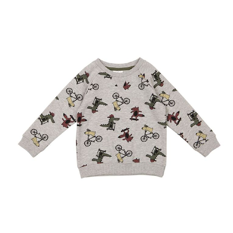 Young Original Toddler Printed Raglan Sweatshirt, Grey Mid, hi-res