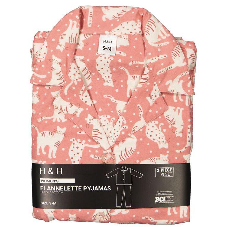 H&H Women's Flannelette Pyjamas Set, Pink CAT, hi-res
