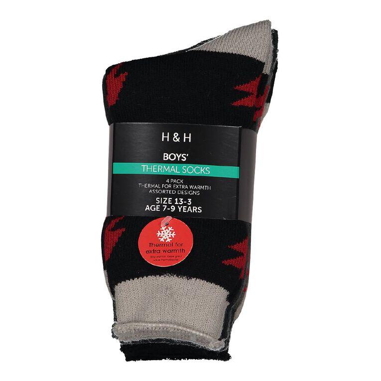 H&H Boys' Thermal Socks 4 Pack, Black, hi-res