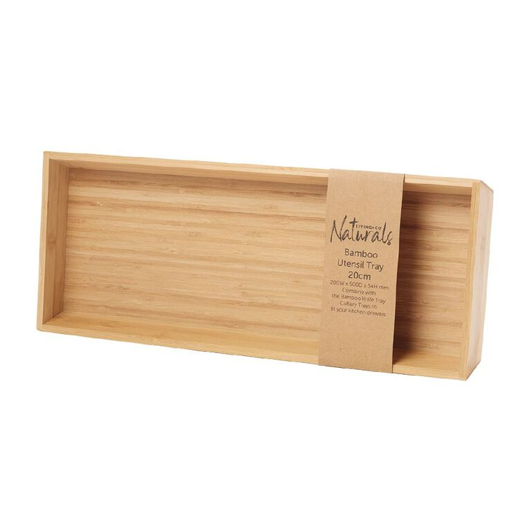 Living & Co Bamboo Utensil Tray Natural 200mm, , hi-res