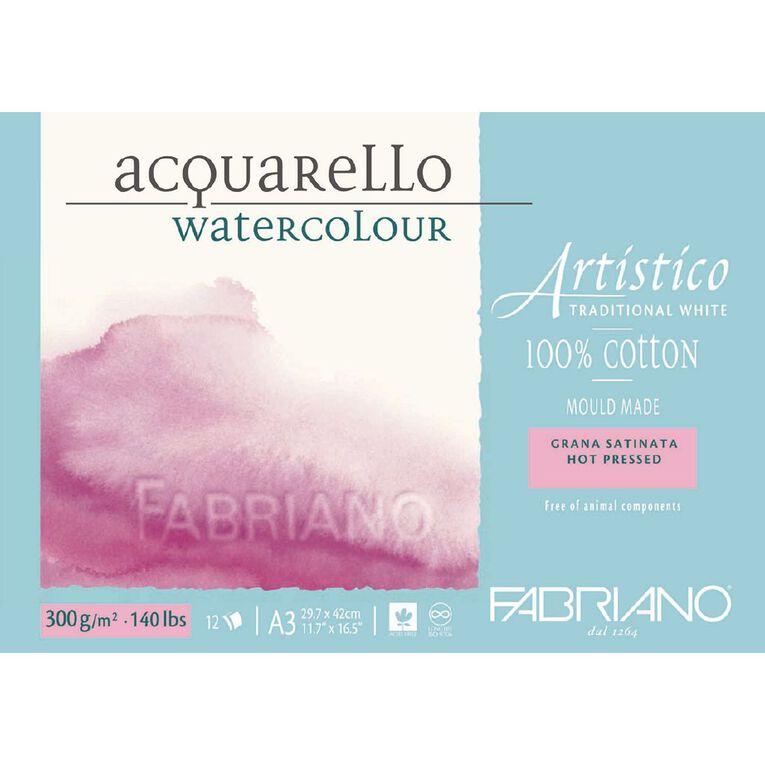 Fabriano Artistico Watercolour Pad Hot Pressed 300GSM 12 Sheets A3, , hi-res