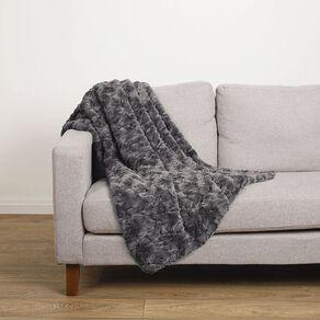 Living & Co Textured Faux Fur Throw Charcoal 120cm x 140cm