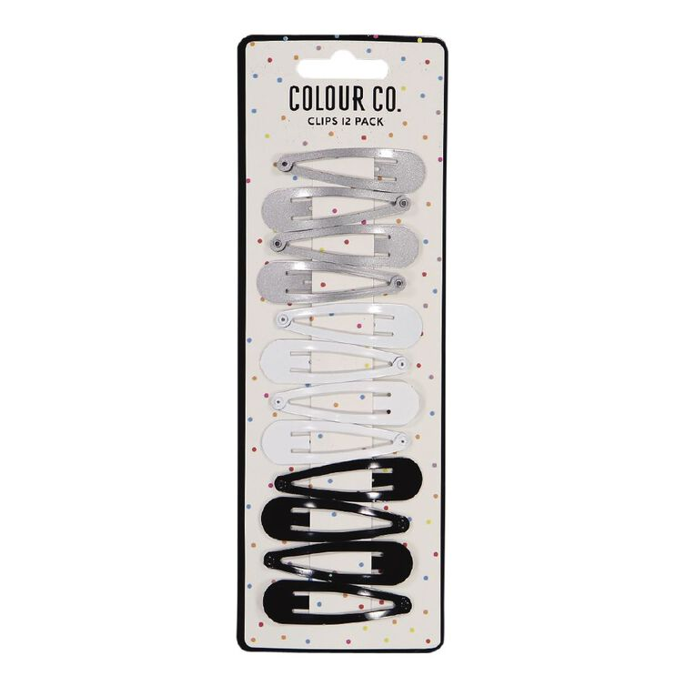 Colour Co. Hair One Touch Clips Black White Silver 12 Pack, , hi-res