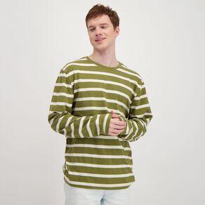 H&H Men's Crew Neck Long Sleeve Stripe Tee