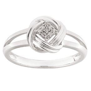0.04 Carat Diamond Sterling Silver Knot Ring