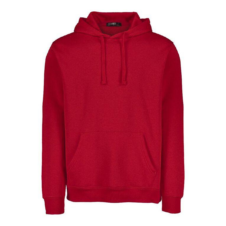 H&H Men's Plain Hooded Sweatshirt, Red, hi-res