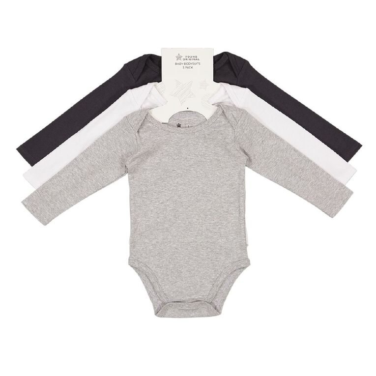 Young Original Baby 3 Pack Long Sleeve Bodysuits, Grey Marle, hi-res image number null