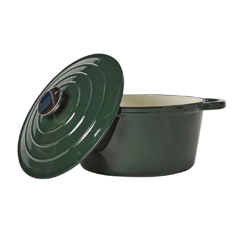 Living & Co Cast Iron Casserole Dish Round Green 4L, , hi-res