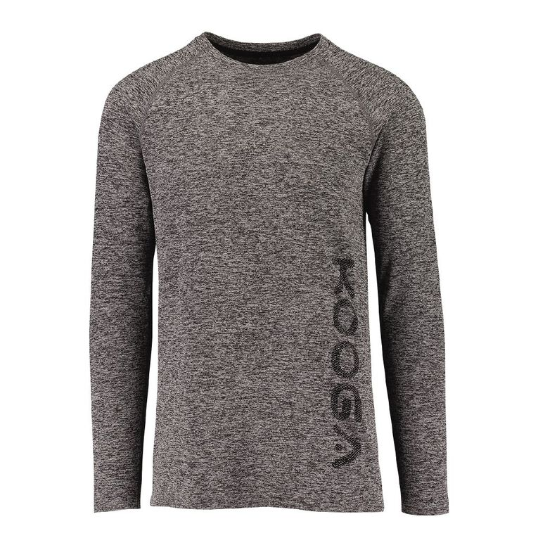 Kooga Men's Long Sleeve Seamless Tee, Charcoal/Marle, hi-res