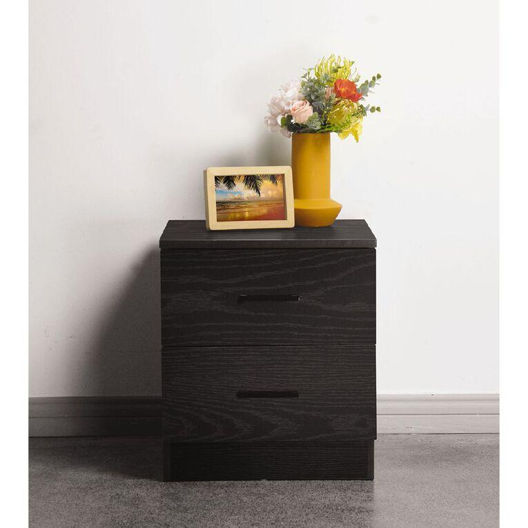 Living & Co Madrid 2 Drawer Bedside Table Black, , hi-res