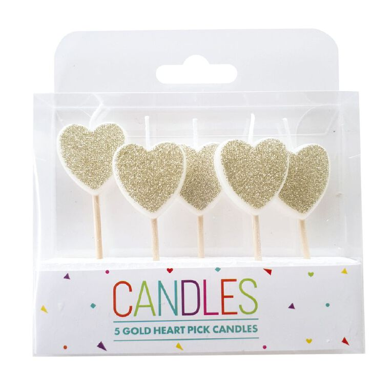 Heart Pick Candles Gold 5 Pack, , hi-res