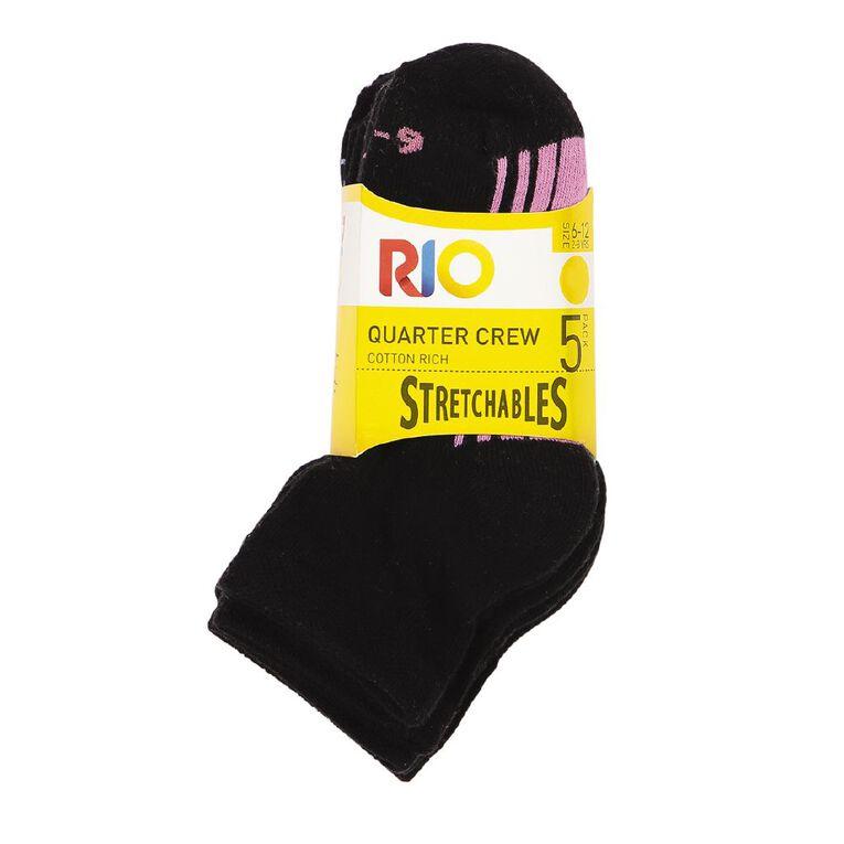 Rio Girls' Stretchables Quarter Crew Socks 5 Pack, Black, hi-res