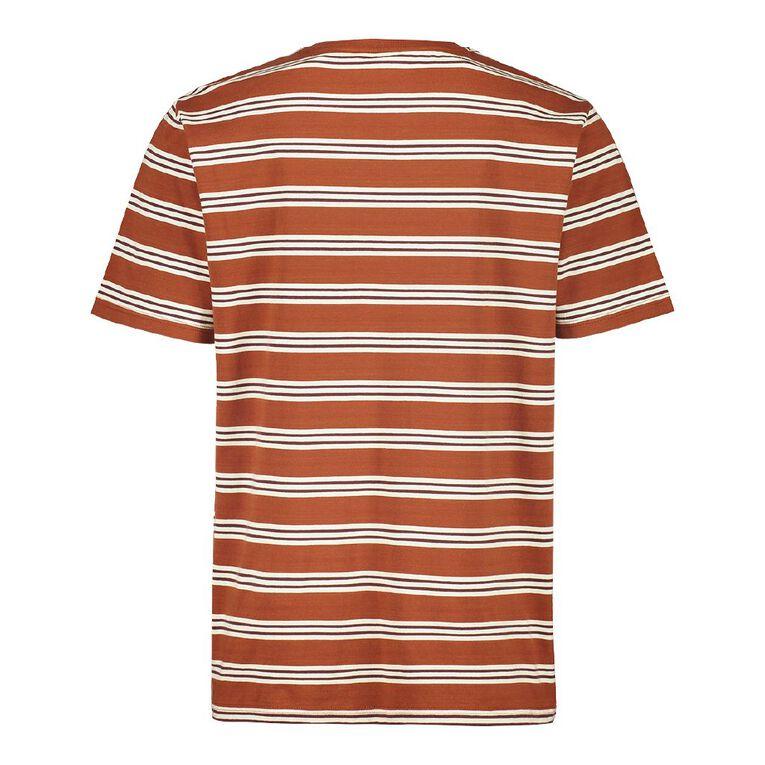 H&H Men's Crew Neck Short Sleeve Stripe Tee, Rust, hi-res