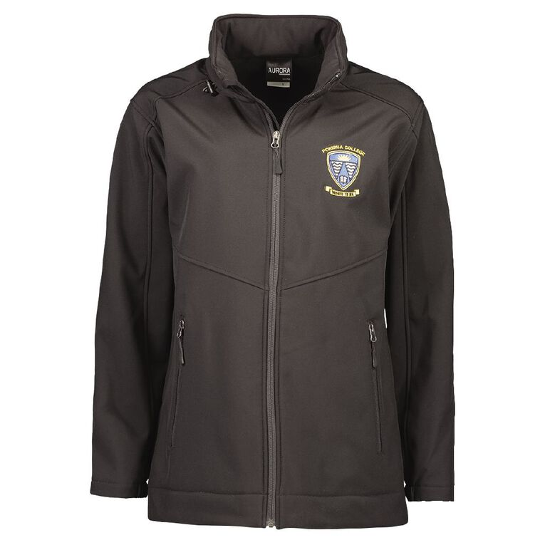 Schooltex Porirua College Softshell Jacket with Embroidery, Black, hi-res
