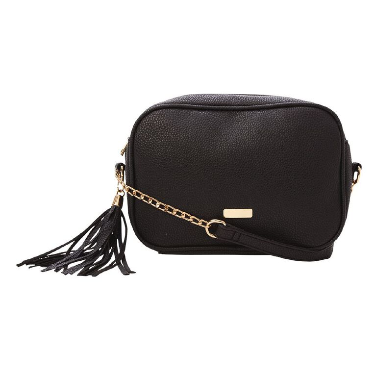 H&H Crossbody Chain Handbag, Black, hi-res