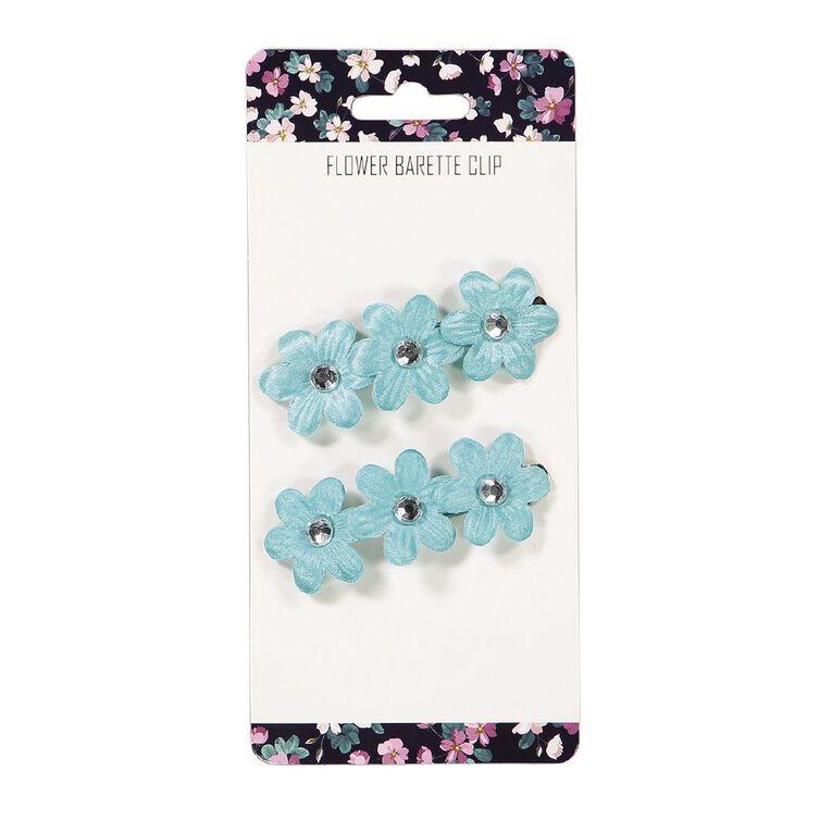 3 Flower Barette Clip Blue, , hi-res image number null