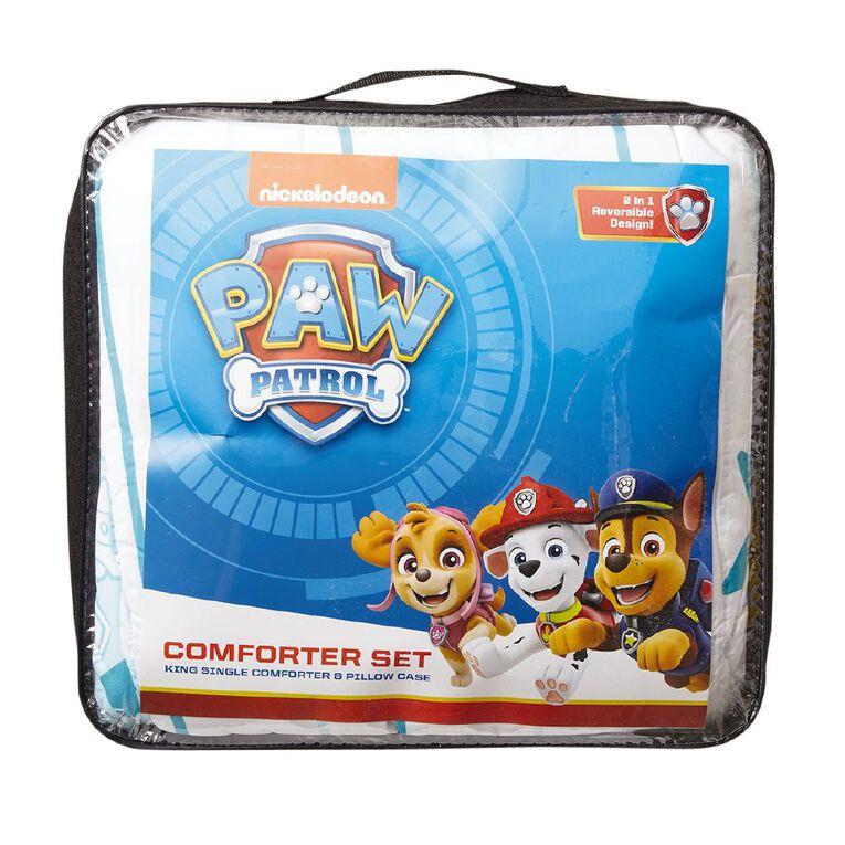 Paw Patrol Comforter Set Heroes White King Single, White, hi-res