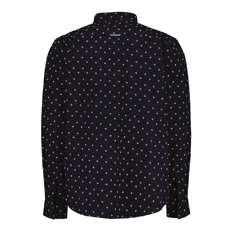H&H Men's Long Sleeve All Over Print Shirt, Navy, hi-res
