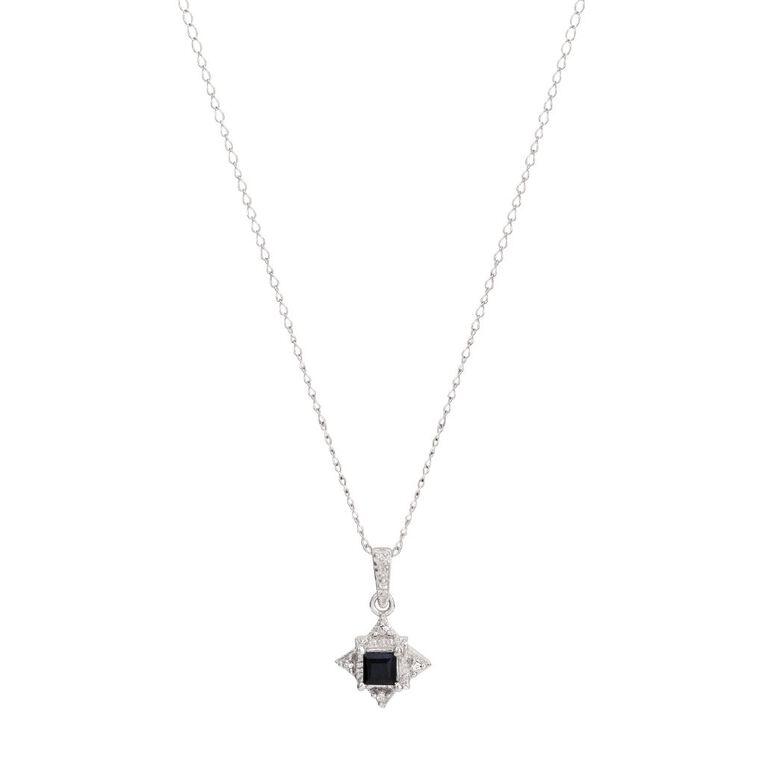 Sterling Silver Black Sapphire Star Pendant, , hi-res
