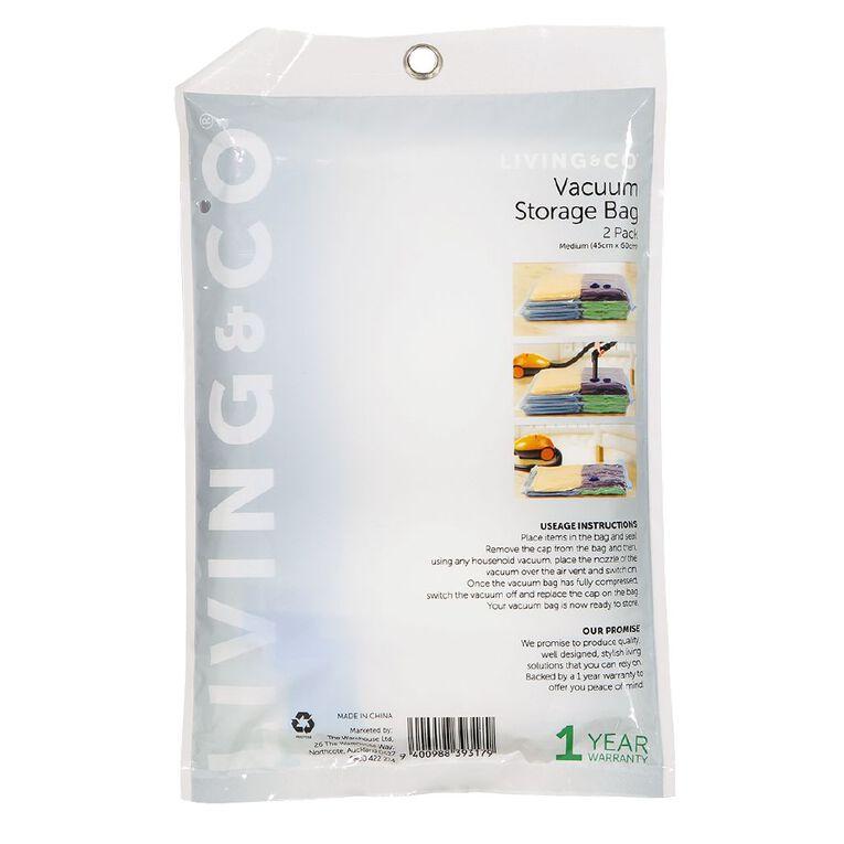 Living & Co Vacuum Storage Bag Medium Clear 2 Pack, , hi-res