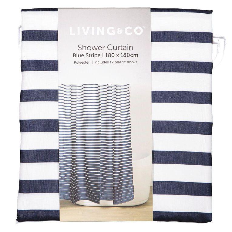 Living & Co Shower Curtain Stripe Blue Dark 180cm x 180cm, Blue Dark, hi-res