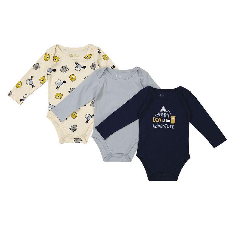 Young Original Baby 3 Pack Long Sleeve Printed Bodysuits, Blue Dark, hi-res