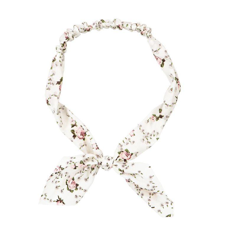 Soft Headband With Bow White, , hi-res