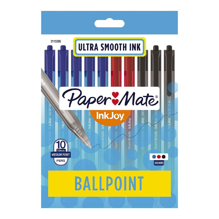 Paper Mate InkJoy 100RT 1.0mm Ballpoint Pen Business Assorted 10 Pack, , hi-res