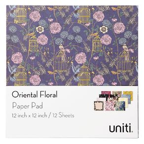 Uniti Oriental Floral Paper Pad 12 Sheets 12in x 12in