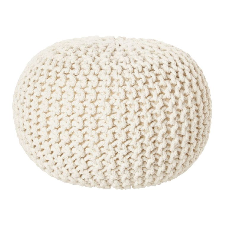 Living & Co Hand Knitted Pouf Cream, , hi-res