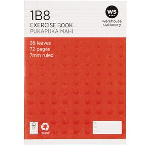 WS Exercise Book 1B8 7mm Ruled 36 Leaf Red