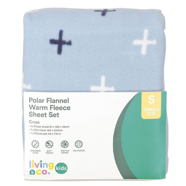 Living & Co Kids Sheet Set Polar Flannel Crosses Sky Blue King Single, Sky Blue, hi-res