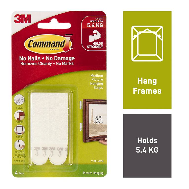 Command Picture Hanging Strips 4 Sets/Pack White Medium, , hi-res