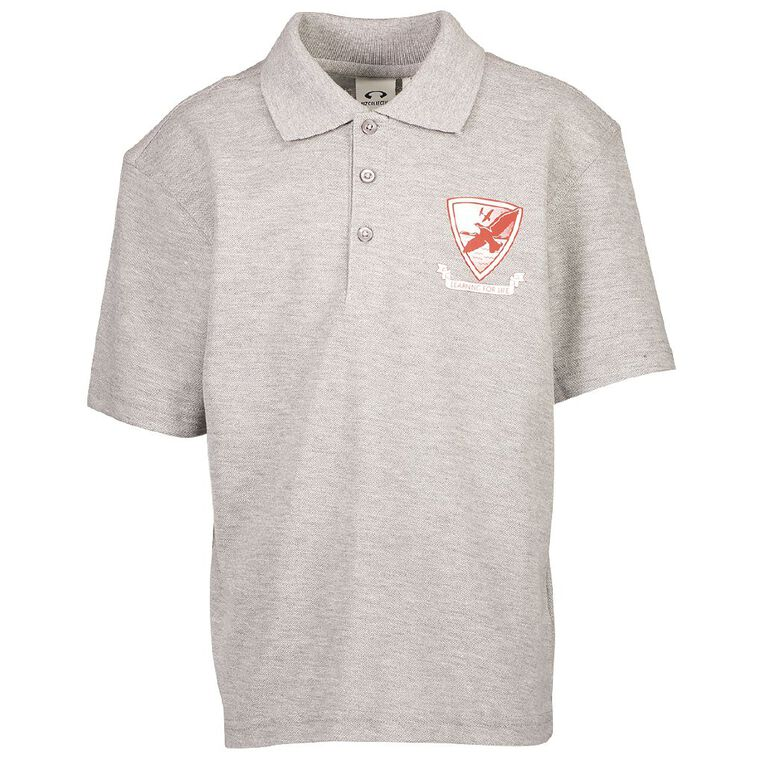 Schooltex Leabank Polo with Transfer, Grey Marle, hi-res