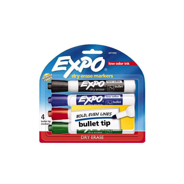Expo Dry Erase Whiteboard Marker Bullet Tip Business Assorted 4 Pack, , hi-res image number null