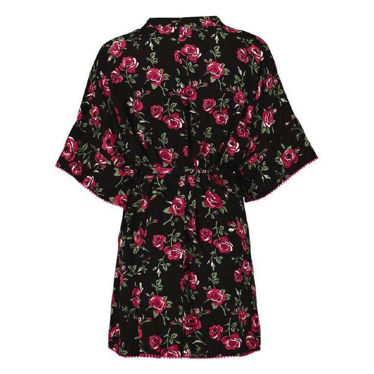 H&H Women's Kimono Robe, Black, hi-res