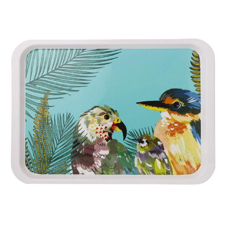 Living & Co Printed Melamine Serving Tray Birds Multi-Coloured, , hi-res