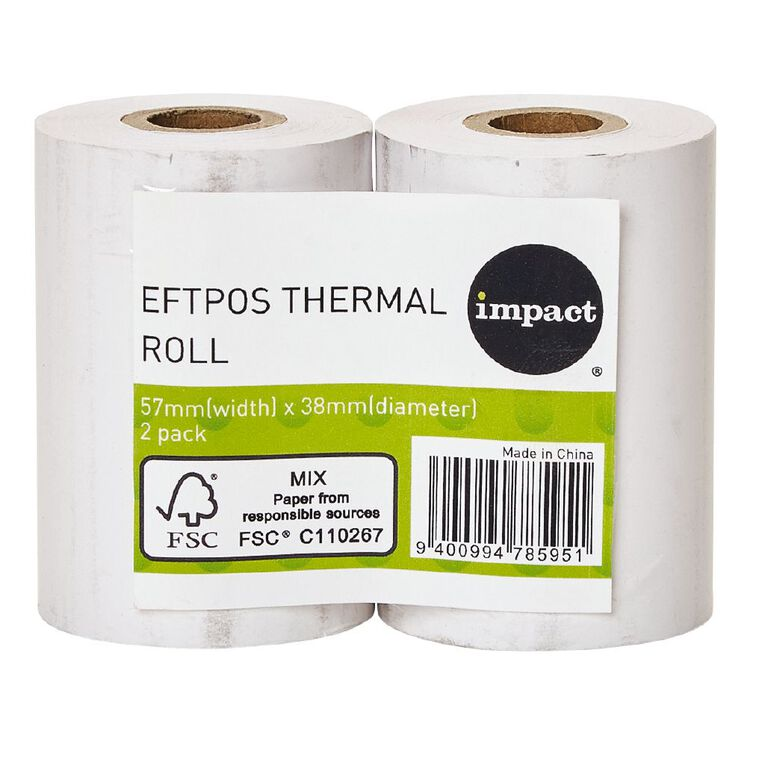 Impact Eftpos Roll 57 x 38mm Twin Pack 65gsm, , hi-res