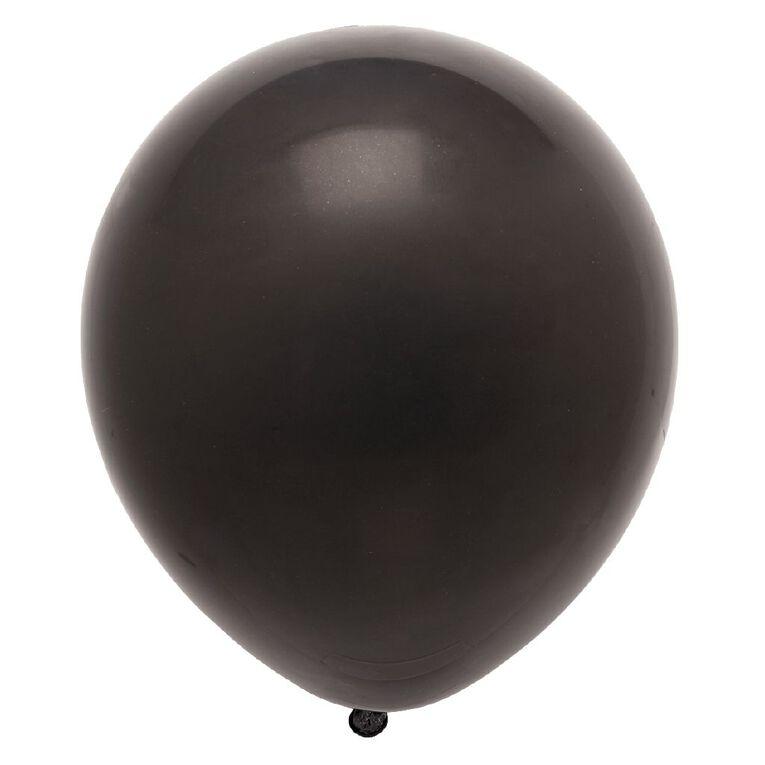 Party Inc Balloons Solid Colour Black 25cm 25 Pack, , hi-res