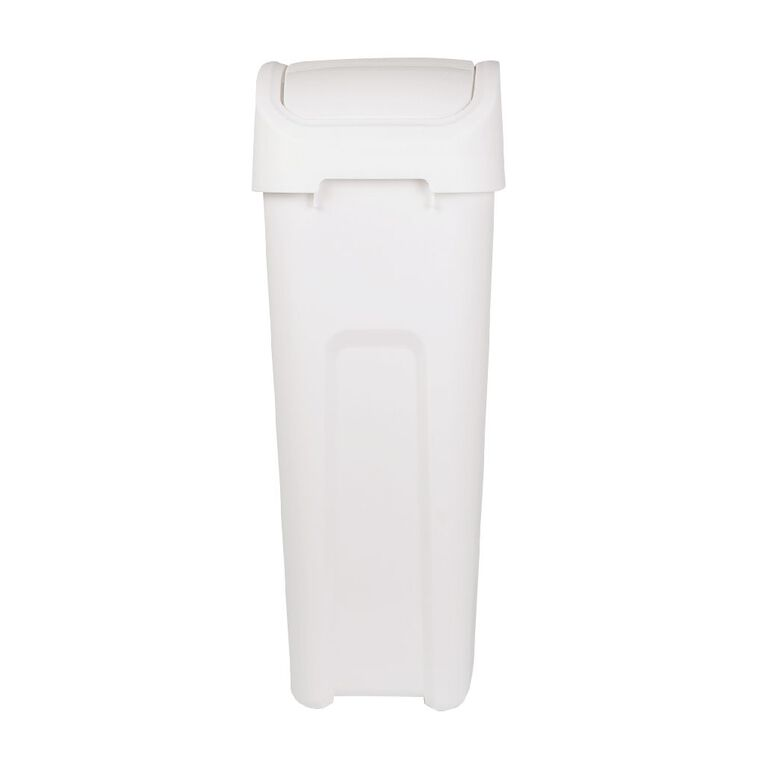 Living & Co Rubbish Bin Slim Line Flip Top White 32L, , hi-res image number null