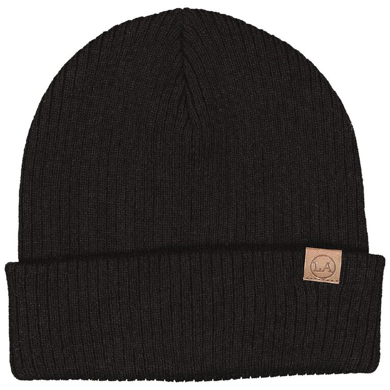 H&H Men's Ribbed Slouch Beanie, Black, hi-res image number null