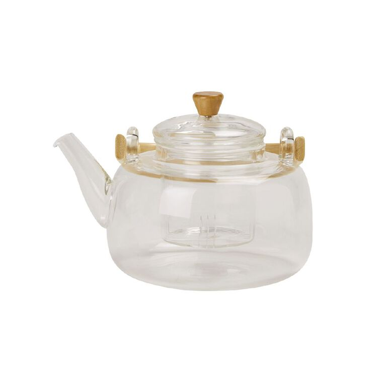 Living & Co Glass Teapot with Infuser Bamboo Handle 900ml, , hi-res