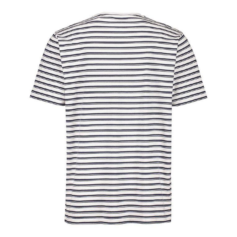 H&H Men's Crew Neck Short Sleeve Stripe Tee, White/Blue, hi-res