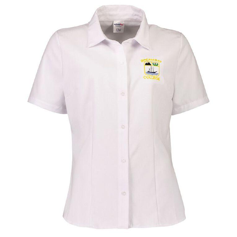 Schooltex Bream Bay Women's Short Sleeve Blouse, White, hi-res
