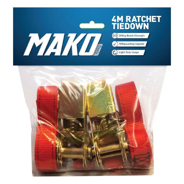 Mako Ratchet Tiedown 25mm x 4m 2 Pack, , hi-res