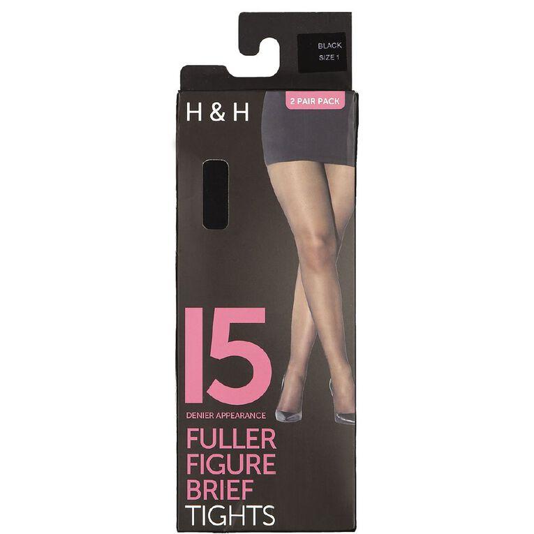 H&H Women's 15D Full Figure Sheer Satin Tights 2 Pack, Black, hi-res