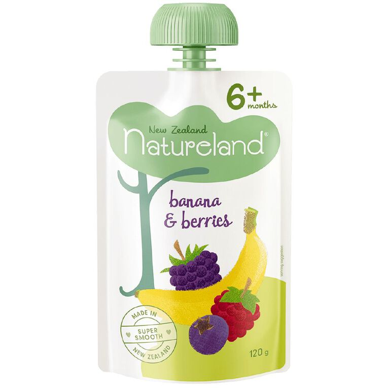 Natureland Banana & Berries Puree Pouch 120g, , hi-res