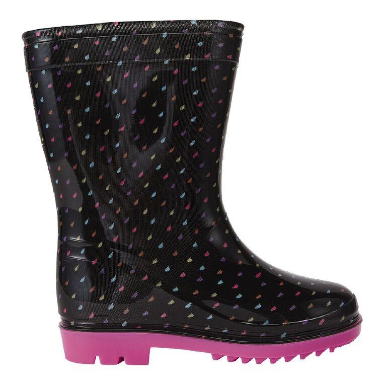 Young Original Rainbow Spot Girls' Gumboots, Black/Pink, hi-res
